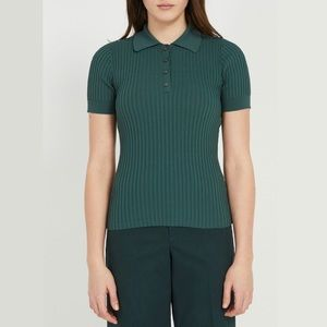 FRANK AND OAK Short Sleeve Sweater Polo Deep Green